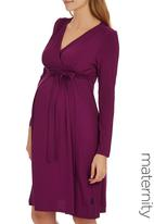 Cherry Melon - Long Sleeve Mock Wrap Dress Mid Pink