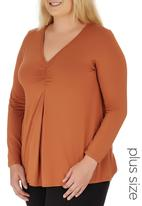 edit Plus - Long Sleeve Ruched T-shirt Mid Brown
