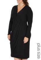 edit Plus - Pleated Wrap Dress Black