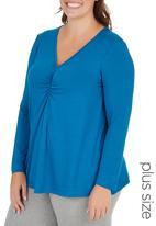 edit Plus - Long Sleeve Ruched T-shirt Blue