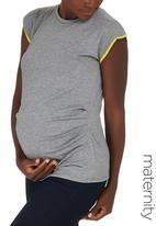 edit Maternity - Gauged Contrast T-shirt Grey