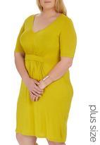 edit Plus - Drape Knit Dress Chartreuse
