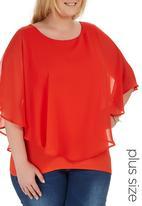 edit Plus - Chiffon Overlay Top Orange