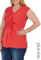 STYLE REPUBLIC PLUS - Knot Front T-shirt Coral