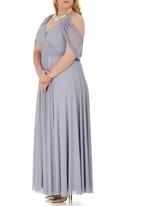 Jacoba - Mesh Maxi  Dress Pale Grey