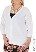 edit Plus - 3/4 Sleeve Basic Cardigan White