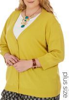 edit Plus - 3/4 Sleeve Basic Cardigan Yellow