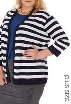 edit Plus - 3/4 Sleeve Basic Cardigan Blue and White