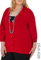 edit Plus - 3/4 Sleeve Basic Cardigan Red
