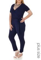 edit Plus - Short Sleeve Jumpsuit Mid Blue