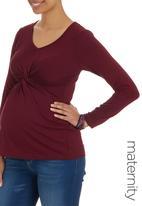 edit Maternity - Knot Top Long Sleeve Dark Red