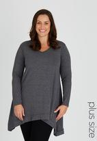 edit Plus - Long Sleeve Hanky Hem Tunic Mid Grey