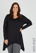 edit Plus - Long Sleeve Hanky Hem Tunic Black