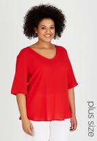 edit Plus - Basic V-Neck T-shirt Red