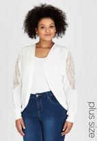 edit Plus - Lace Detail Chiffon Jacket White