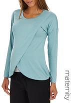 edit Maternity - Long Sleeve Wrap T-shirt Mid Green