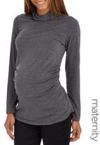 edit Maternity - Side Gauge Turtle Neck Top Dark Grey