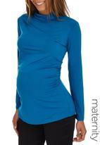 edit Maternity - Side Gauge Turtle Neck Top Mid Blue