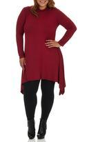 edit Plus - High-Neck Swing Dress Red