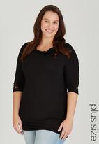 edit Plus - Lace Detail Sleeve Top Black