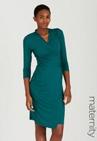 Cherry Melon - Cocktail Dress with 3/4 Sleeves Green