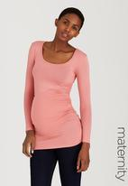 Cherry Melon - Side Gauge Long Sleeve Top Coral