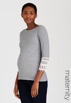 edit Maternity - Lace Sleeve T-shirt Grey