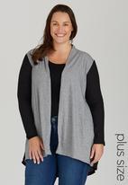 edit Plus - Knit and Chiffon Cardigan Grey
