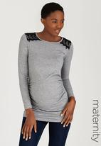 edit Maternity - Lace Keyhole Top Grey