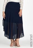 edit Plus - Basque Chiffon Skirt Navy