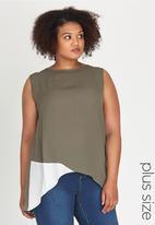 edit Plus - Colour Blocked Tank Top Khaki Green