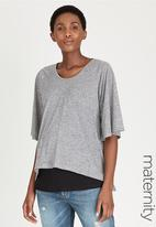 edit Maternity - Double Layer Feeding Top Black and Grey