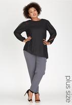edit Plus - Asymmetrical Split Sleeve Top Black