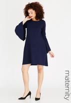 edit Maternity - Pleated Sleeve Swing Dress Navy