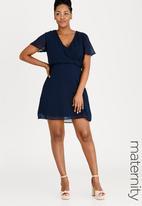 edit Maternity - Flutter Sleeve Dress Navy