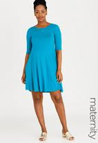 edit Maternity - Fit and Flare Dress Turquoise