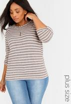 edit Plus - Stripe Top with Chain Silver