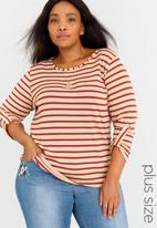 edit Plus - Stripe Top with Chain Red