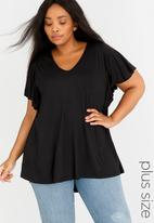 edit Plus - Flutter Sleeve Top Black