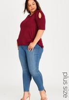 edit Plus - Cold Shoulder T-shirt with 3/4 Sleeves Dark Red