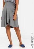 edit Maternity - Wrap Skirt Grey Melange