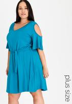 edit Plus - Cold Shoulder Fit and Flare Day Dress Turquoise