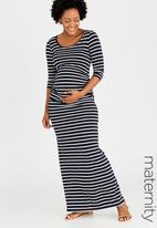 edit Maternity - Side Gauge Tank Dress Navy & White