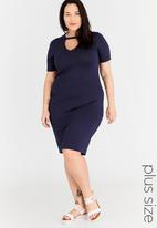 STYLE REPUBLIC PLUS - Choker Neck Dress Mid Blue