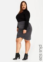 STYLE REPUBLIC PLUS - Tummy Control Wrap-Over Skirt Charcoal