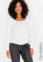 Cherry Melon - Maternity Round Neck Top with Side Detail Long Sleeve - White