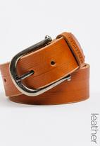 Pringle of Scotland - Brok Casual Leather Belt Tan