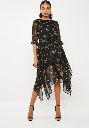 Chiffon floral asymmetric hem midi dress black - multi