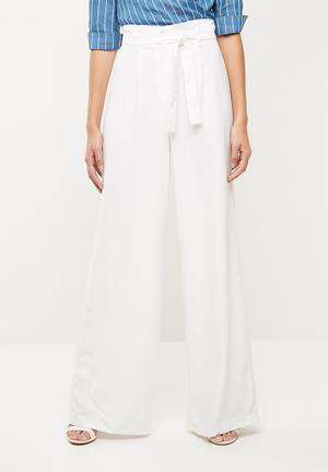 Tailored paperbag waist trousers - white