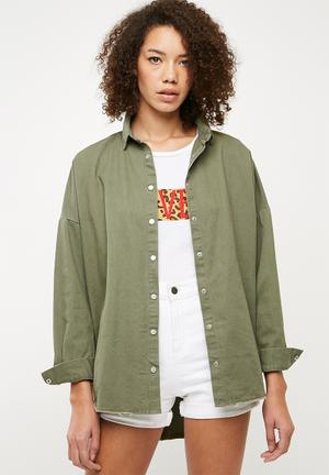 Oversized denim shirt - khaki